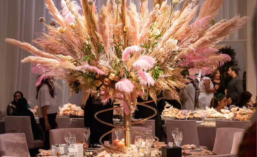 centrepiece with pampas from London party planner
