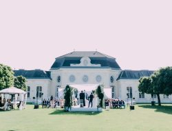 Chinese Wedding ceremony in front of a castle in Paris, France