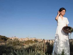 Destination Wedding in Spain with bride in olive field