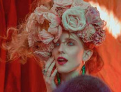 Floral Fashion Editorial with model and flower crowns made by a luxury event florist in london