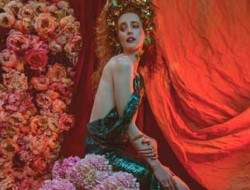 Art Deco Floral Fashion Editorial with model and flower wall