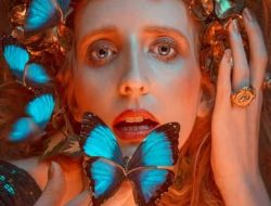 Floral Fashion Editorial with blue butterflies