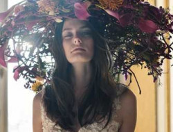Floral Fashion Editorial with model and fresh flower hat