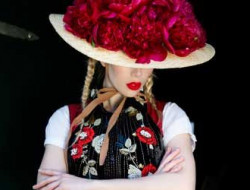 Floral Fashion Editorial with model and real flower crown