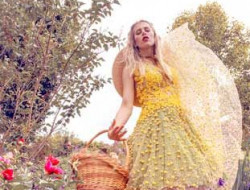 Floral Fashion Editorial with model and real flower dress