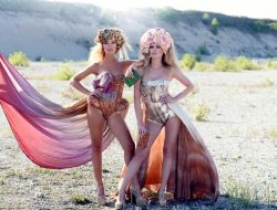 Floral Fashion Editorial with two models and flower crowns made by a luxury event florist in london