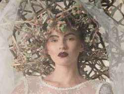 Floral Fashion Editorial with model and veil made by a luxury wedding florist in london
