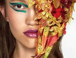 Floral Fashion, Beauty Editorial with flowers
