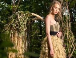Floral Fashion Editorial, model in jungle with floral wings