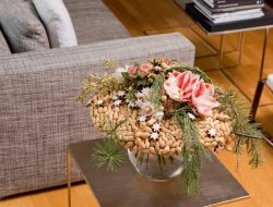 Christmas bouquet with flowers and nuts in living room, from london wedding florist
