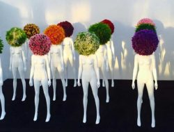 Luxury Event Florist Floral Art Installation with mannequins and flower heads
