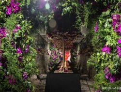 Luxury party planner london tropical flower tunnel
