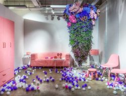 floral design installation at art gallery from Luxury party planner london