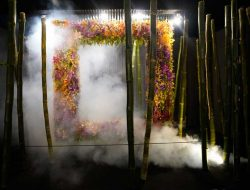 flower art installation with fog from Luxury party planner london