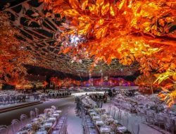 table setting with golden trees from Luxury wedding planner London