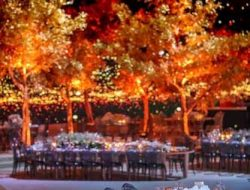 luxury wedding with golden trees planned by Wedding planner London