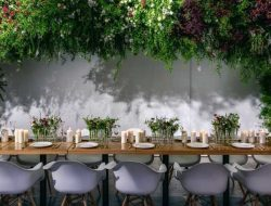 chinese party planner with floral garden decoration