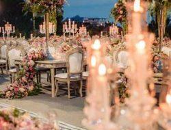 Lebanese destination wedding planner, garden wedding with long tables