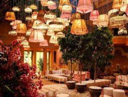 boho garden party in dubai with lampshades