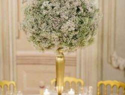 luxury event florist london high centrepiece with gypsophylla