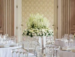 showstopper floral arrangement with white hydrangeas and delphinium from luxury event florist london