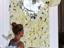 luxury event florist london, white flower wall with monogram