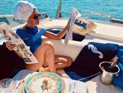 private yacht parties at costa smeralda with Versace Table wear
